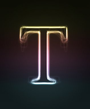 Glowing font. Shiny letter T.
