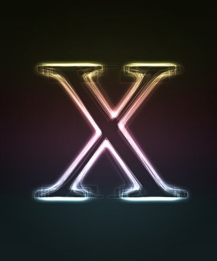 Glowing font. Shiny letter X.