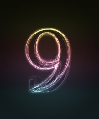 Shiny font. Glowing number 9.
