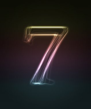 Shiny font. Glowing number 7.