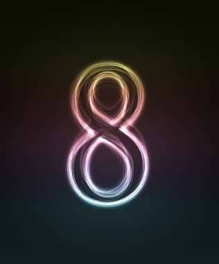 Shiny font. Glowing number 8.