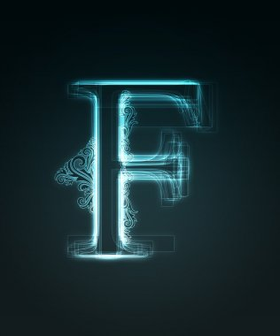 Glowing font. Shiny letter F