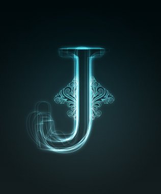 Glowing font. Shiny letter J