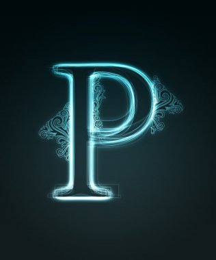 Glowing font. Shiny letter P.