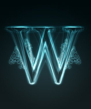 Glowing font. Shiny letter W.