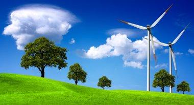 Wind turbines farm on the hills stock vector