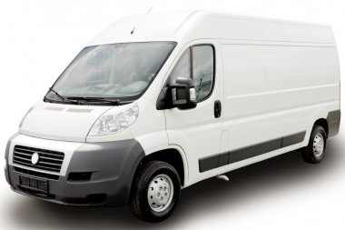 White van on white background