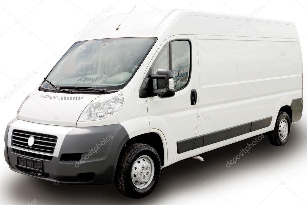White van on white background