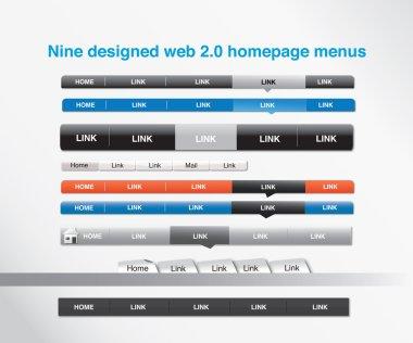 Nine designed homepage menus
