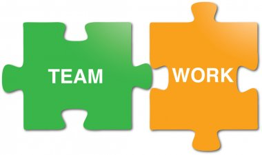 Teamwork puzzle pieces
