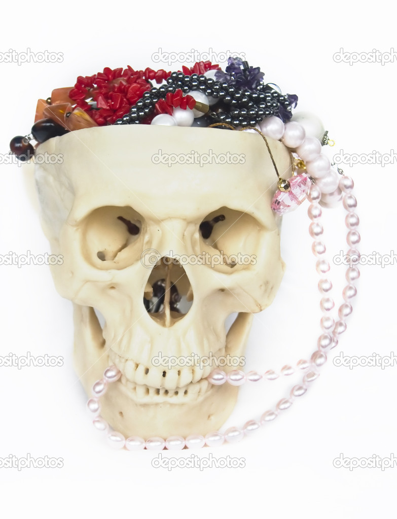 The Image of the skull filled by jeweller ornaments