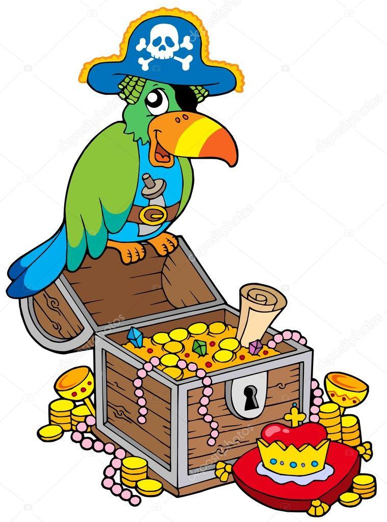 gro u00dfe schatzkiste mit piraten papagei stockvektor treasure chest clip art black and white treasure chest clip art free