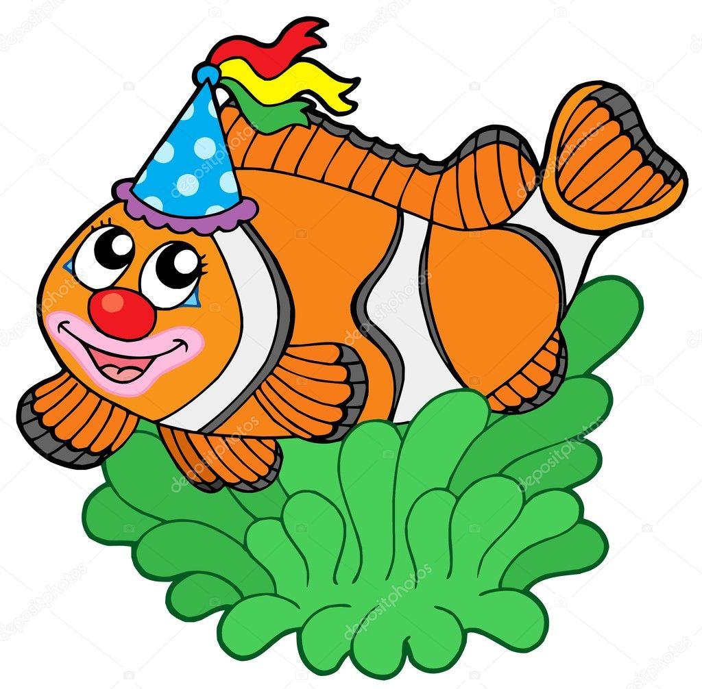 dibujos animados de peces payaso en anémona — Archivo Imágenes ...