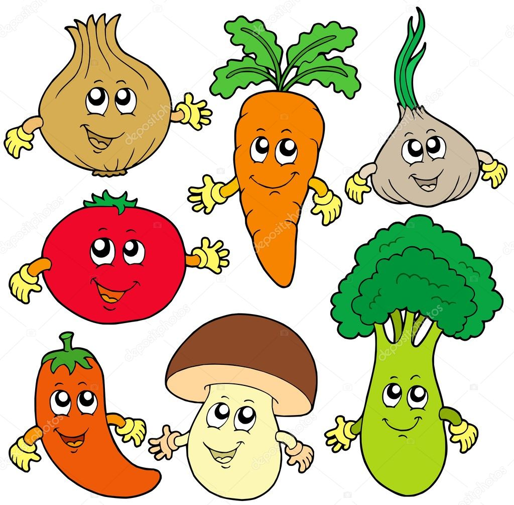 collection vgtale de dessin anim mignon illustration vectorielle vecteur par clairev - Dessin De Lgumes