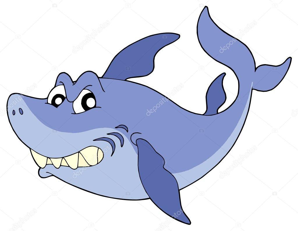 Cute smiling shark vector illustration — Stock Vector ...