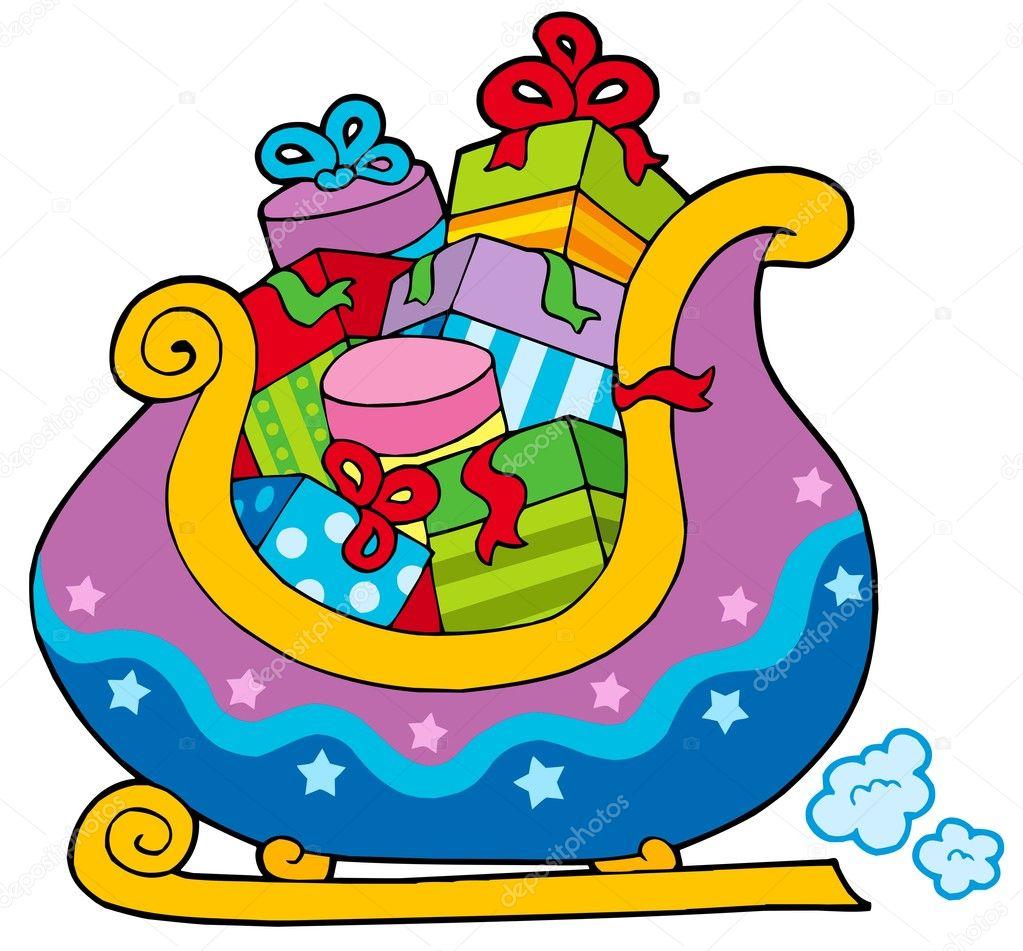 Christmas Schlitten voller Geschenke — Stockvektor © clairev #2250167
