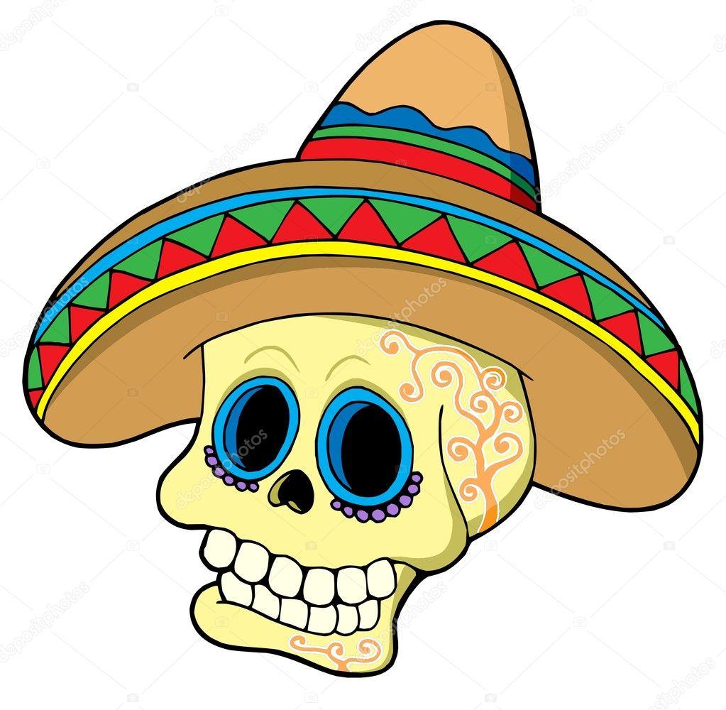 Calavera Mexicana En Sombrero Archivo Imágenes Vectoriales