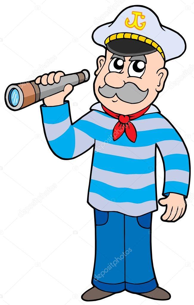 marinero con catalejo — Vector de stock © clairev #2260154