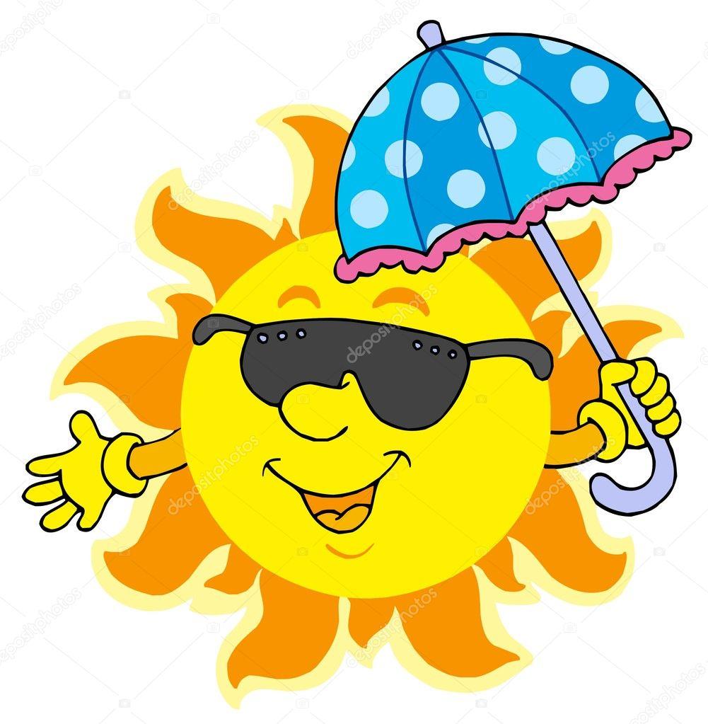 3c6b0c5c3f736a zon in zonnebril met paraplu — Stockvector © clairev  2260953