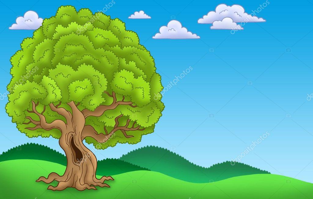 Dibujos Arboles Grandes Y Frondosos Paisaje Con árbol Frondoso
