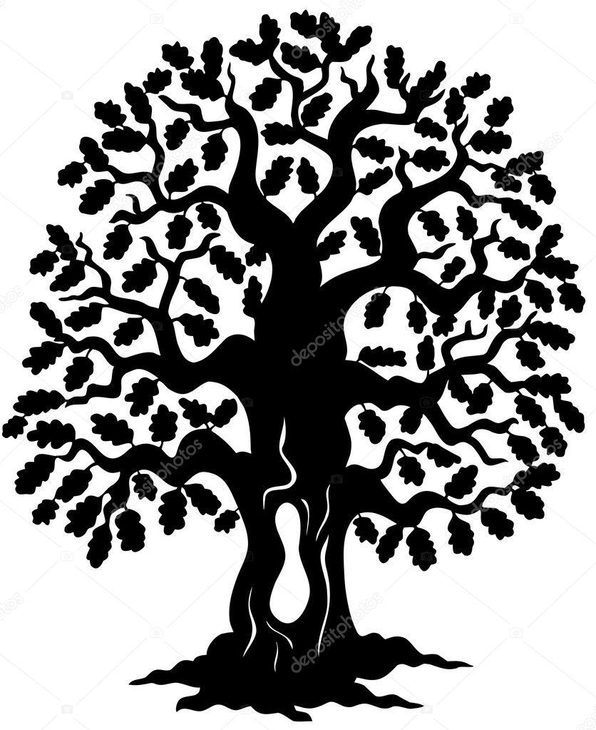 oak tree silhouette stock vector clairev 2558323 rh depositphotos com oak tree vector logo oak tree vector free download