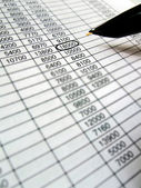 Fotografie Spreadsheet, financial data analysis,pen
