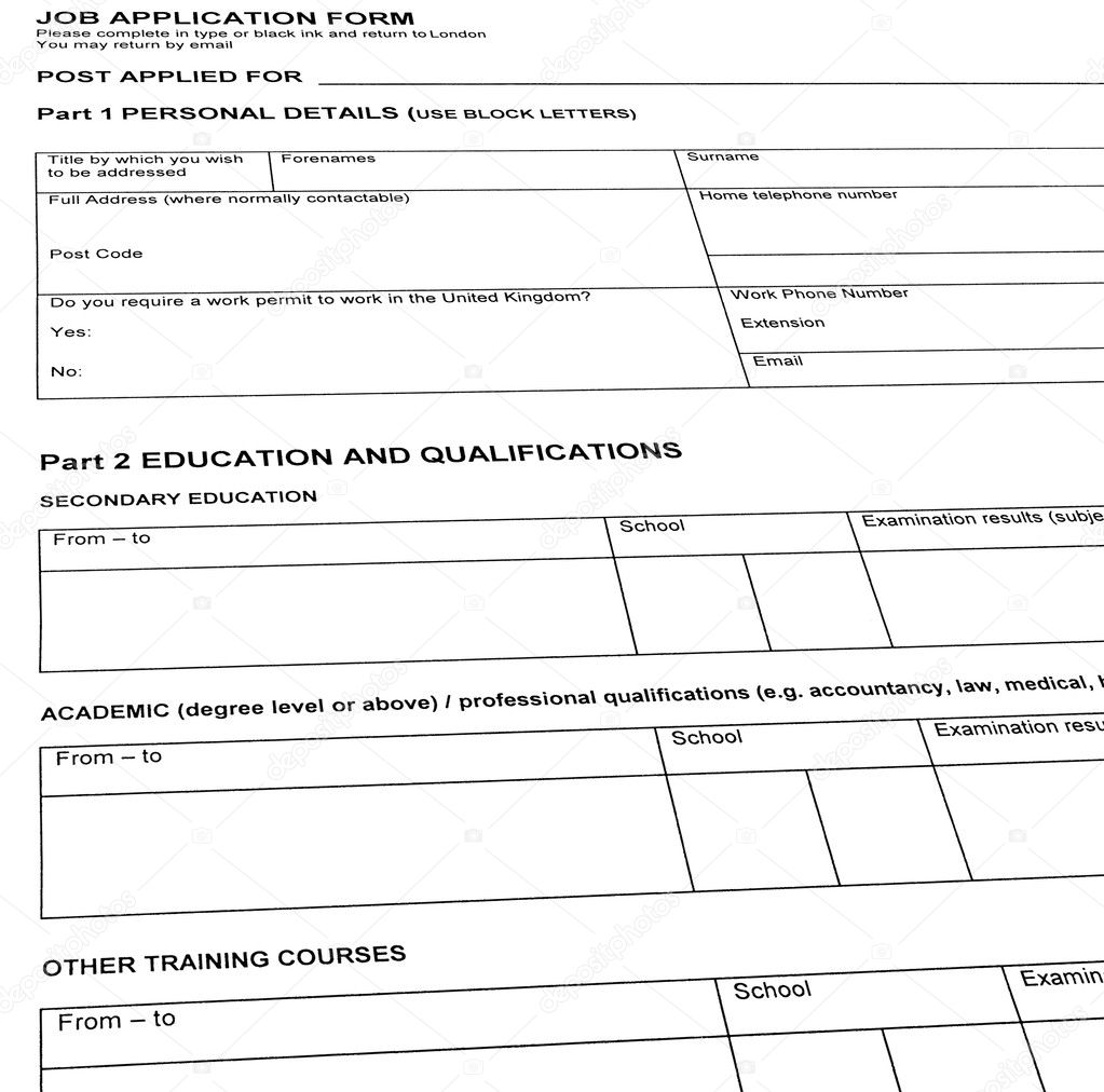 buscando trabajo, reanudar el formulario en blanco — Foto de stock ...