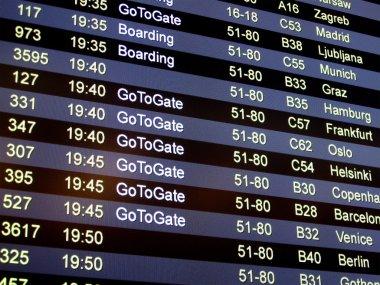 Airport delay sign, flight schedule