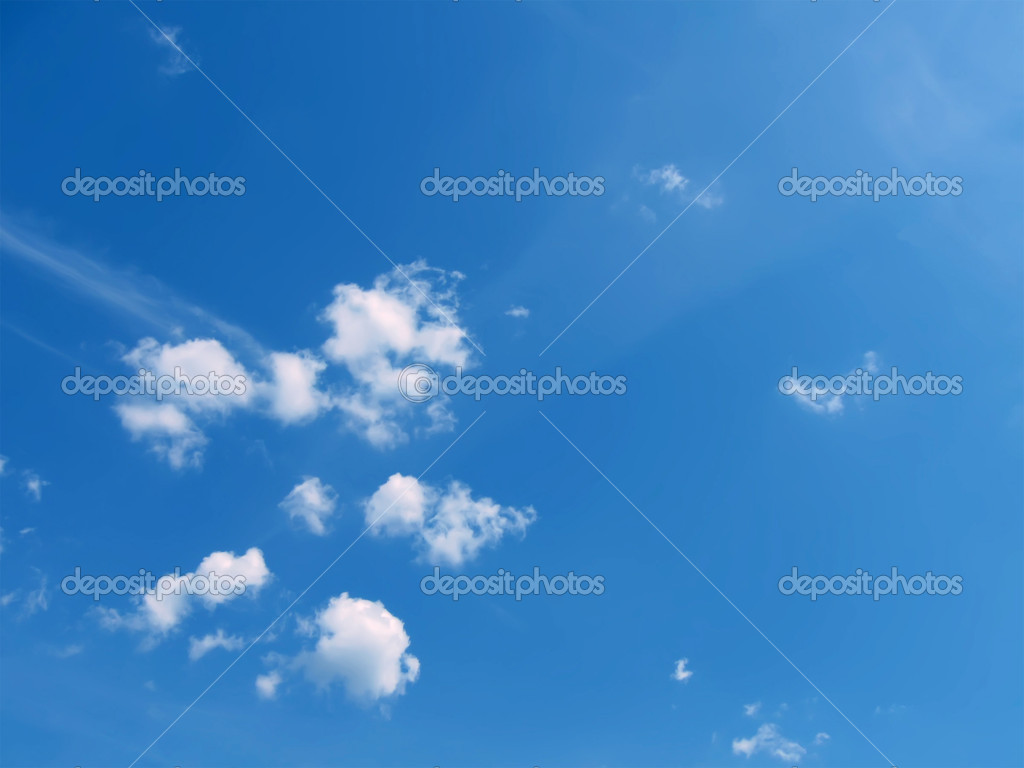 White clouds and blue sky in sunny day