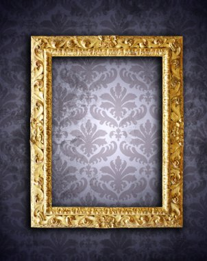 Gold ornate frames, retro wallpaper stock vector