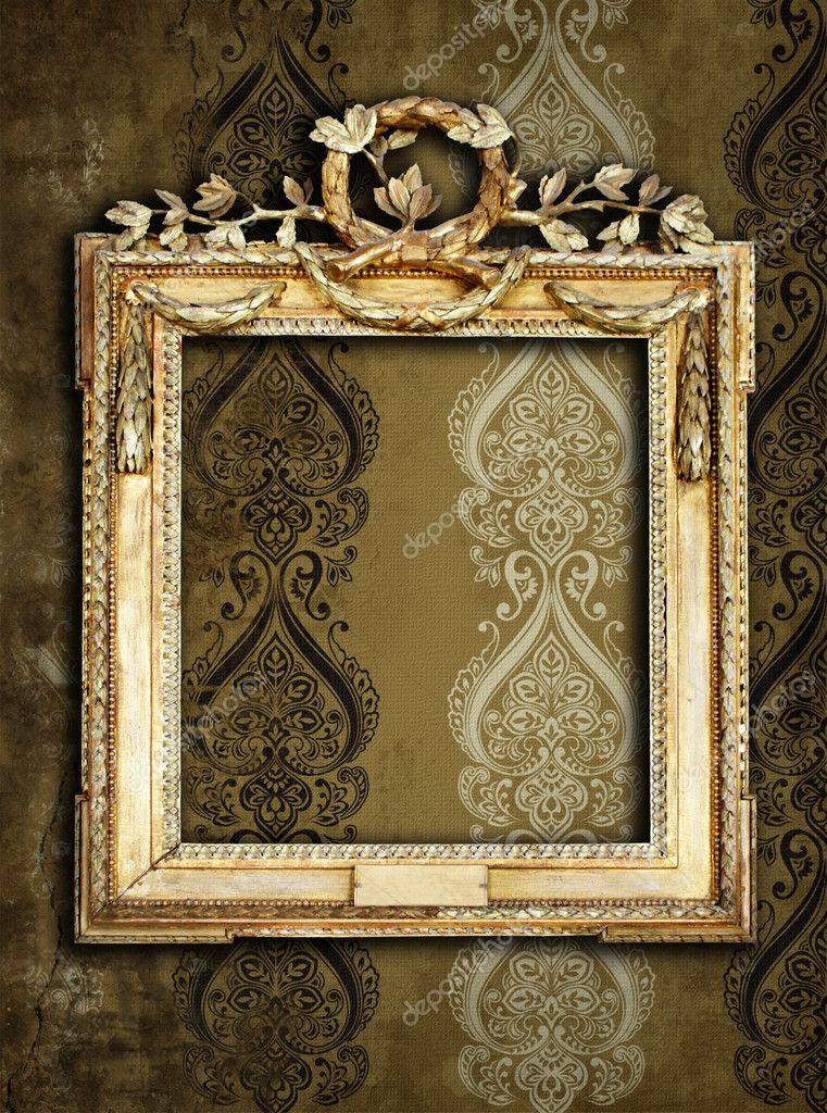 Gold frames, retro wallpaper — Stock Photo © standart #2554774