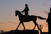 Silhouette of monument of Marshal Zhukov