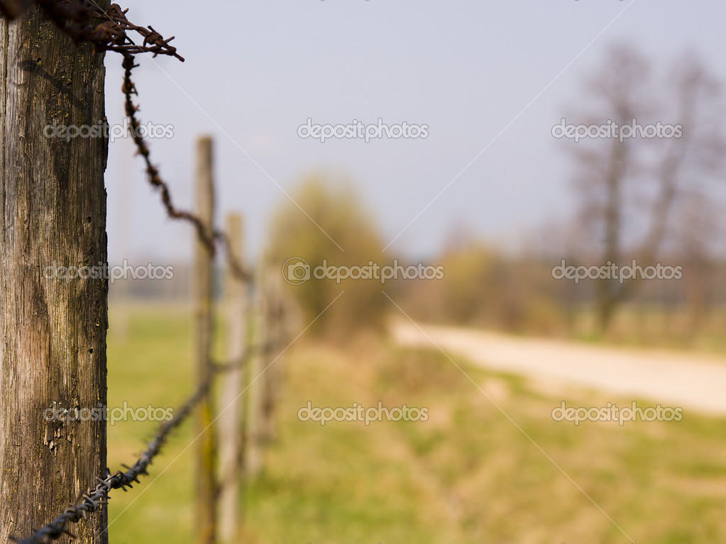 Fence by the meadow in rural landscape