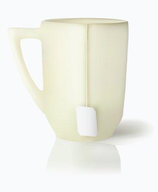 Mug with white tea label on cord