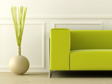 Green modern style couch in white room stock vector