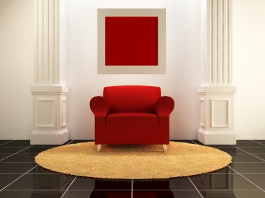 Interiors - Red seat between the columns