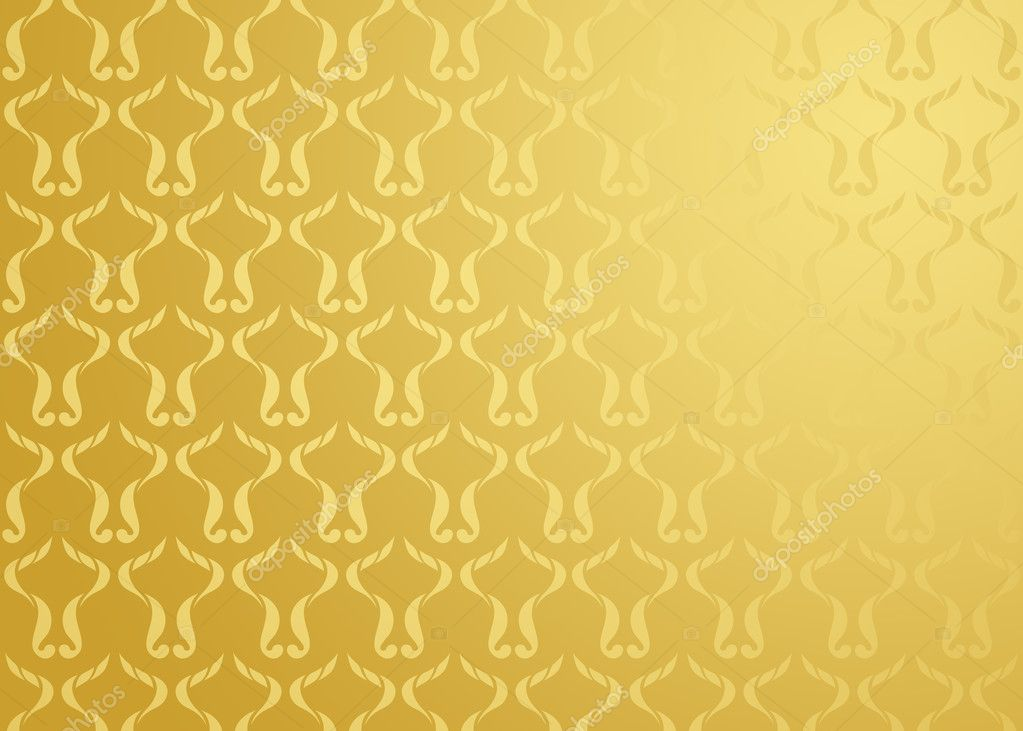Damask abstract design on gold background