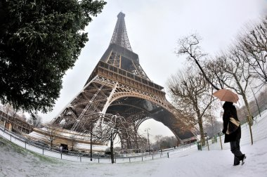 Eiffel tower with snow