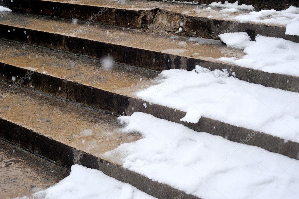 Snow in paris on stairs