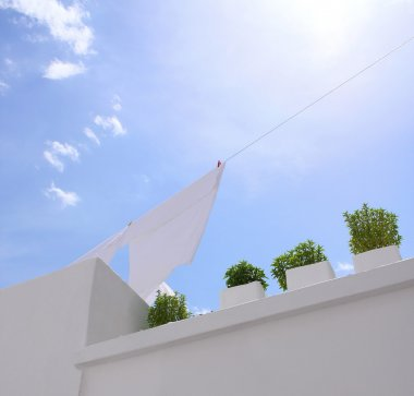 Washing line with blue sky
