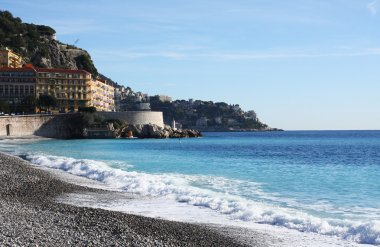 View of Nice city and beach, France