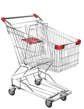 Metal shopping trolley isolated on white stock vector