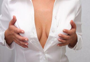 Closeup of female breasts