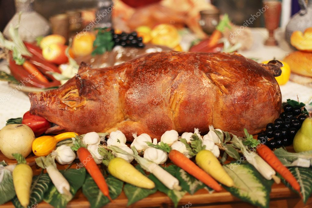 Pig with vegetable