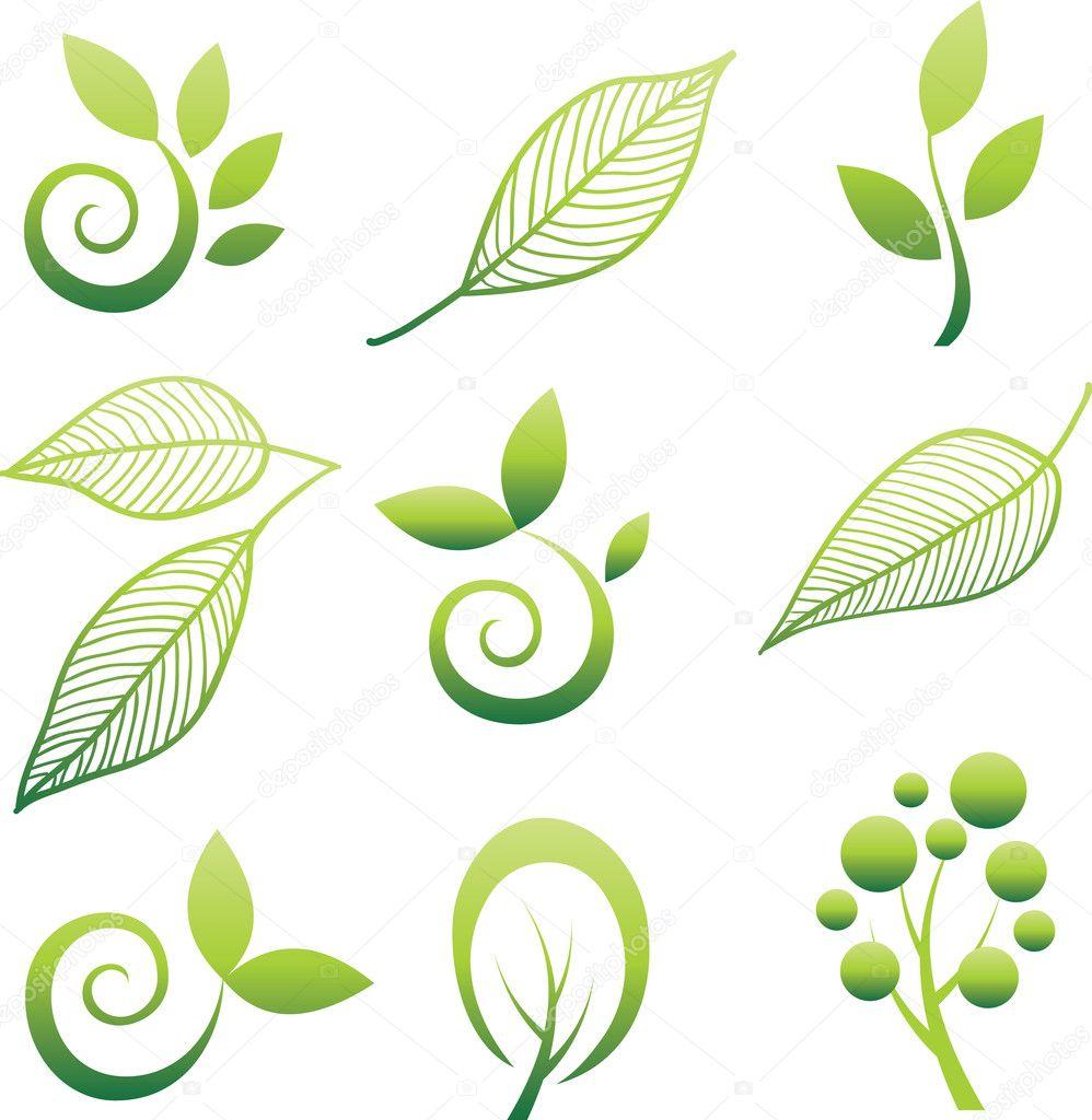 Set of leaf design elements