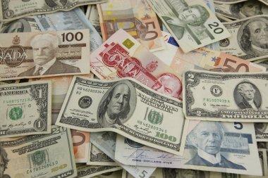 Layers of international paper money