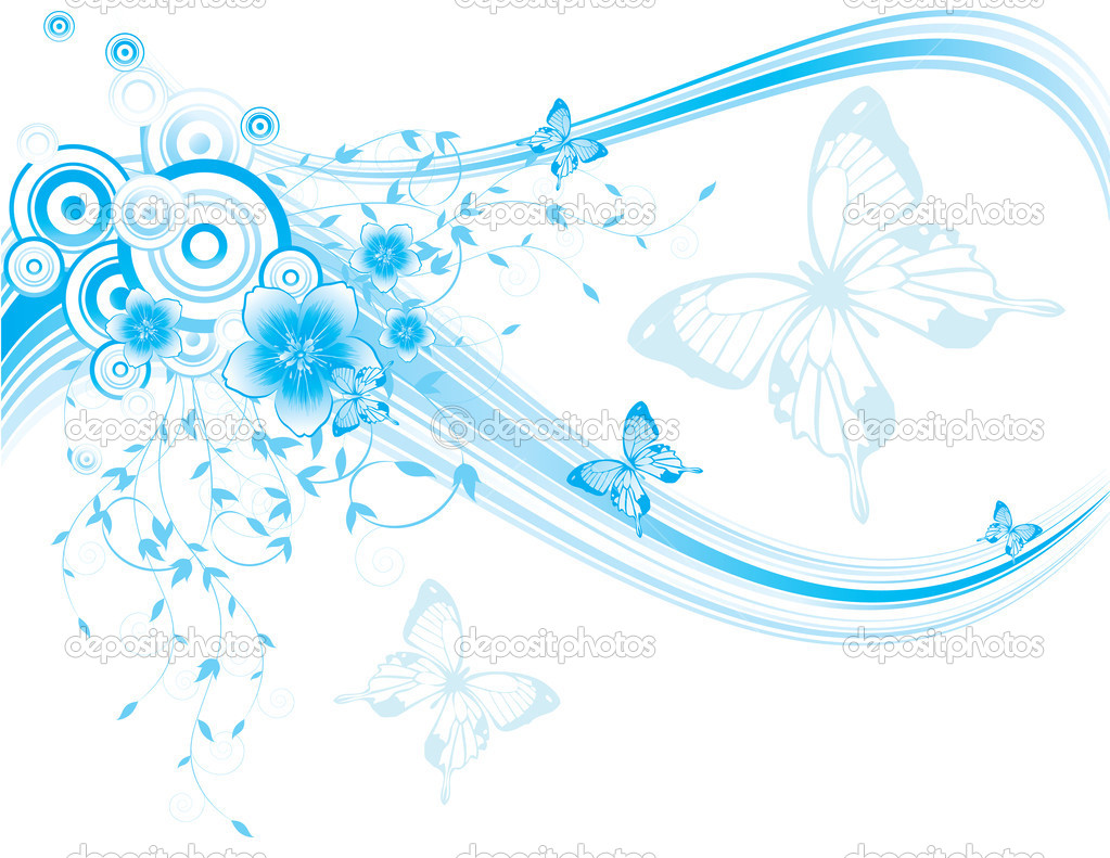 Blue floral background with butterflies
