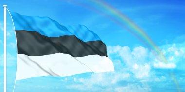 Estonia flag on beautiful sky background