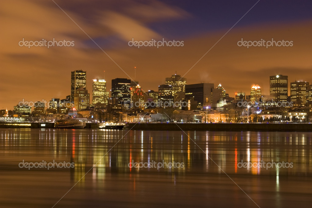 Cityscape night Montreal river reflectio