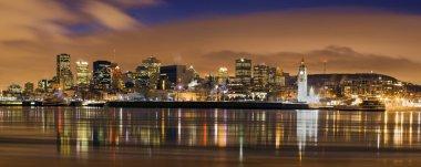 Downtown skyline panorama dusk Montreal